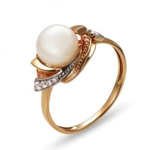 Золотое кольцо с жемчугом КВ1192(2)и