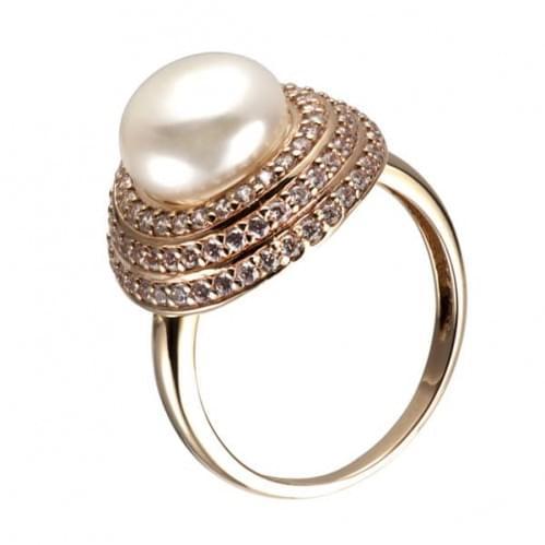Кольцо золотое с фианитами и жемчугом