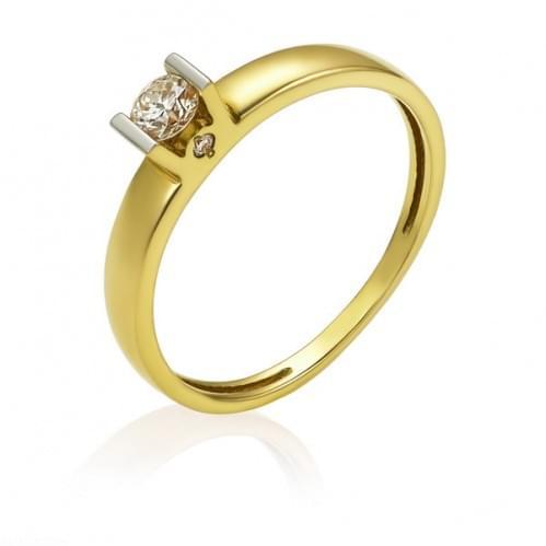 Каблучка з лимонного золота з діамантом КВ1203.00100Лн