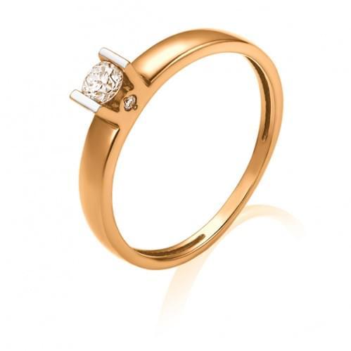 Золотое кольцо с бриллиантом КВ1203.00100н