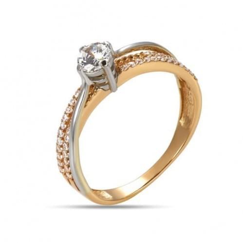 Золотое кольцо с фианитом КВ1210и