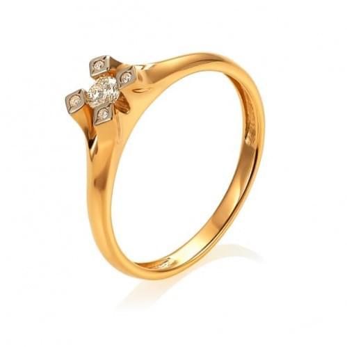 Золотое кольцо с бриллиантом КВ1219(2).00100н