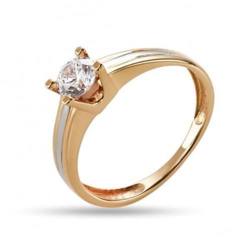 Золотое кольцо с фианитом КВ1226и