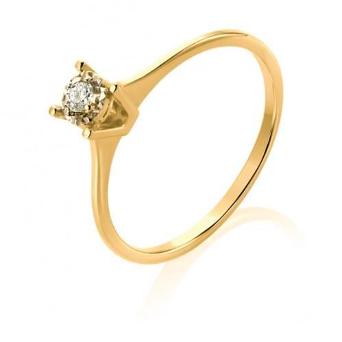 Каблучка з лимонного золота з діамантом КВ1232.00100Лн