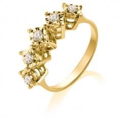 Каблучка з лимонного золота з діамантом