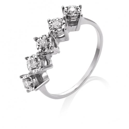 Кольцо с бриллиантом белое золото