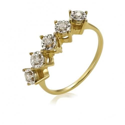 Кольцо из лимонного золота с бриллиантом КВ1236.00100Лн