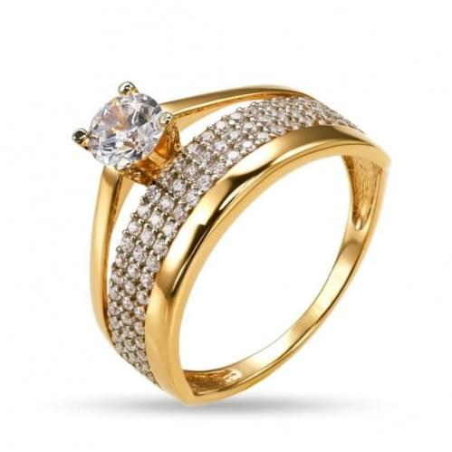 Золотое кольцо с фианитом КВ1261и