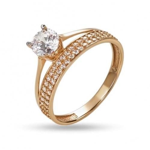 Золотое кольцо с фианитом КВ1265и