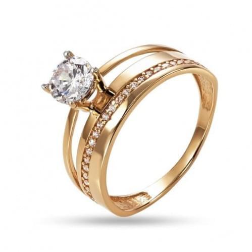 Золотое кольцо с фианитом КВ1268и