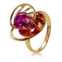 Золота каблучка з рубіновим корундом