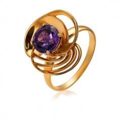 Золотое кольцо с нано аметистом