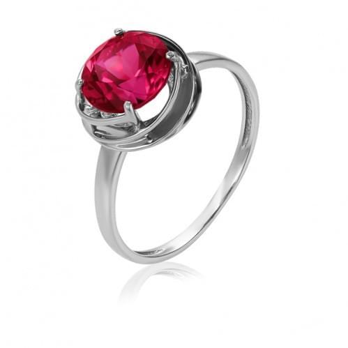Кольцо из белого золота с рубиновым корундом КВ1361.10603Бн