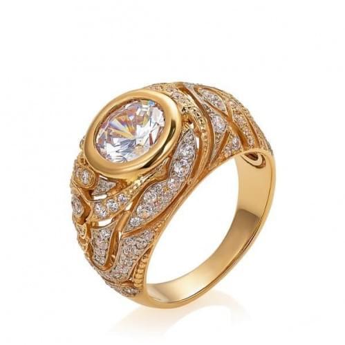 Золотое кольцо с фианитом КВ1364и