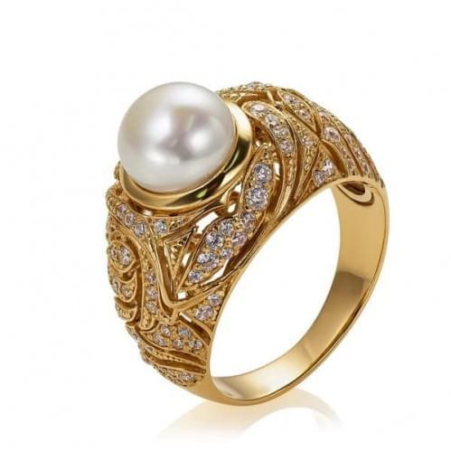 Кольцо в красном золоте с жемчугом