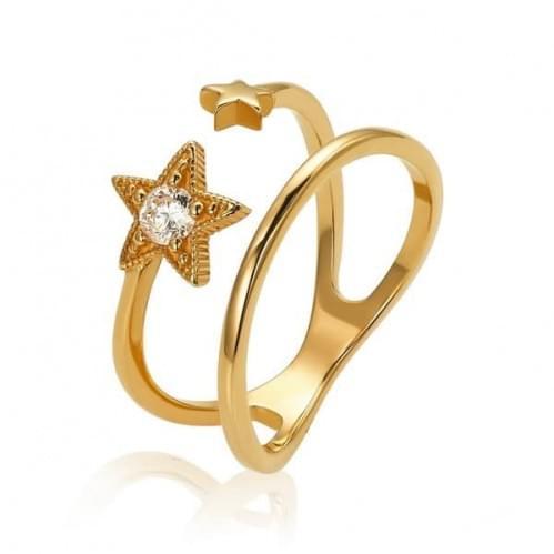 Кольцо золотое с цирконием Две звезды