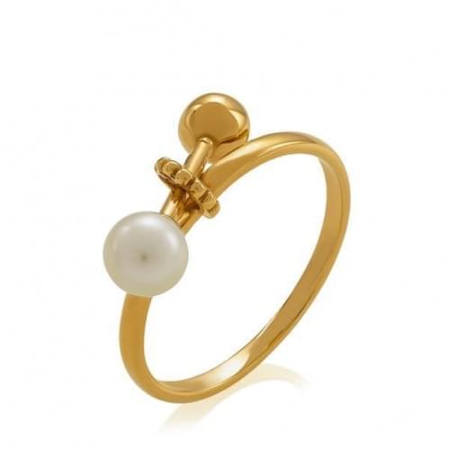Золотое кольцо с жемчугом КВ1378и