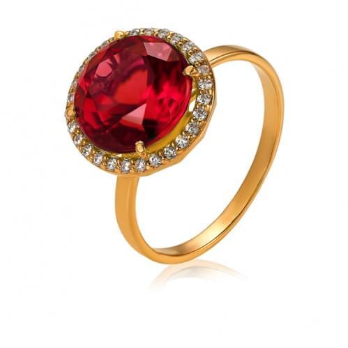 Золотое кольцо с нано marsala КВ1379.17103н