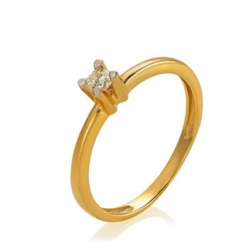 Золотое кольцо с бриллиантом КВ1381.00100н