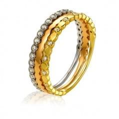 Кольцо комбинированное золото со вставкой