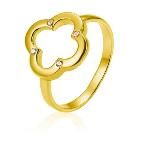 Кольцо из лимонного золота с фианитом КВ1428Лр