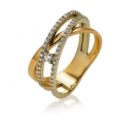 Золотое кольцо с фианитом КВ1460р