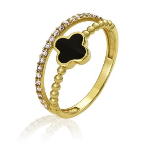 Кольцо из лимонного золота с фианитом КВ1467Ли