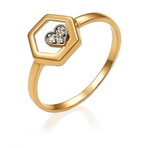 Золотое кольцо с фианитом КВ1483и