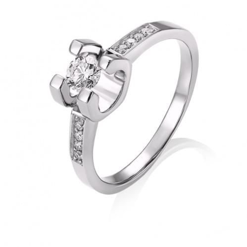 Каблучка з білого золота з діамантом КВ1485.00100Бн