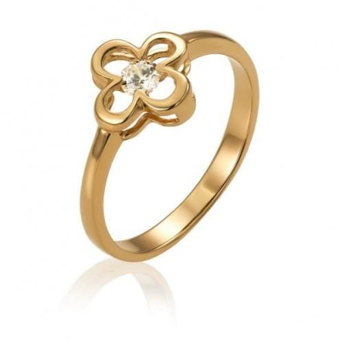 Золотое кольцо с фианитом КВ1487и
