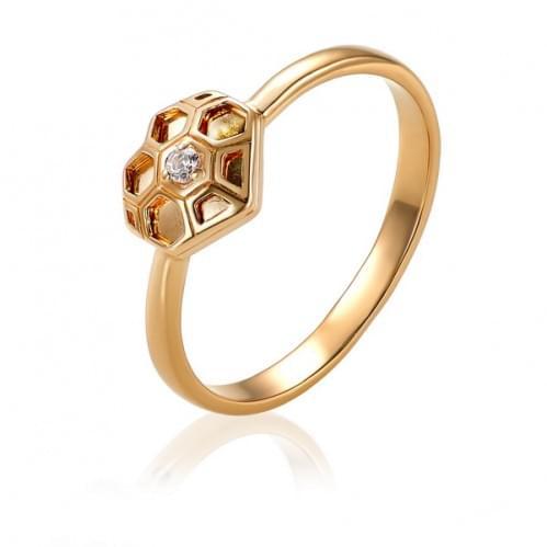 Золотое кольцо с фианитом КВ1489и