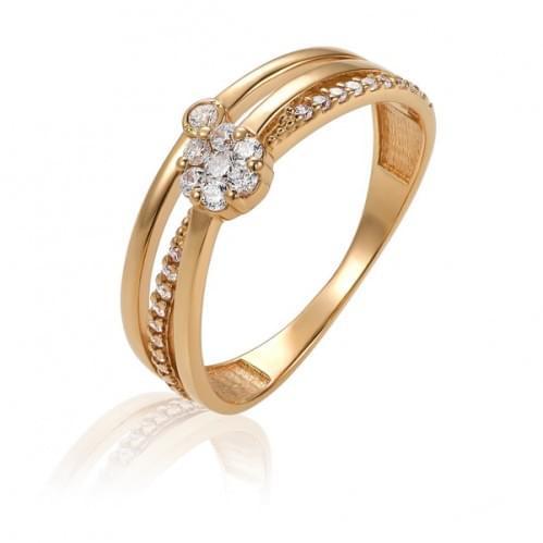 Золотое кольцо с фианитом КВ1491и