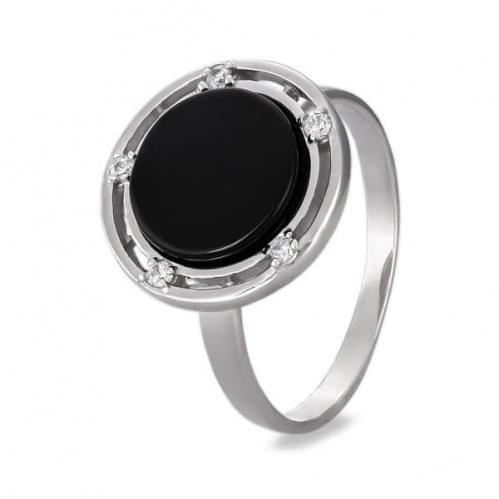Серебряное кольцо с ониксом КВ229с