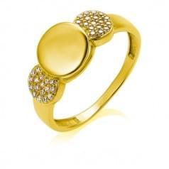 Кольцо из лимонного золота с фианитом КВ2328(3)Ли