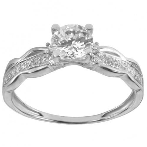Серебряное кольцо с фианитом КВ255(м)с