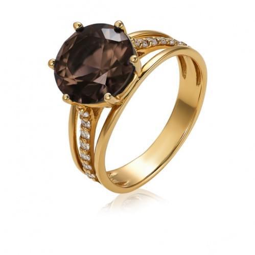 Золотое кольцо с раухтопазом КВ364(2).12011н