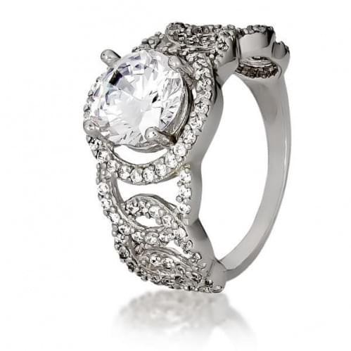 Серебряное кольцо с фианитами КВ409с