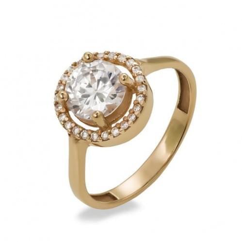 Золотое кольцо с фианитом КВ409(2)и