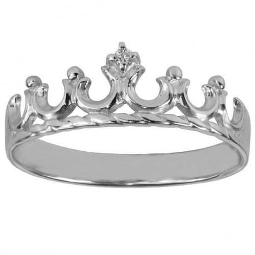 Серебряное кольцо Корона с фианитом КВ525с