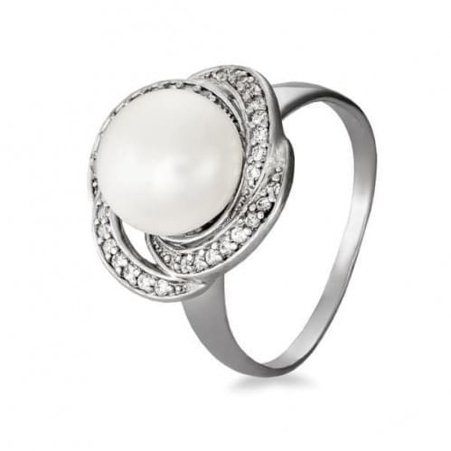 Серебряное кольцо с фианитами и жемчугом КВ612с