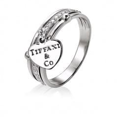 Серебряное кольцо с фианитами (сердцем)
