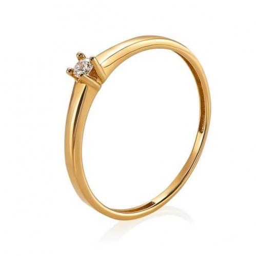 Золотое кольцо с фианитом КВ681и