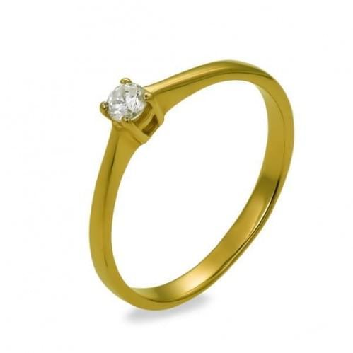 Кольцо из лимонного золота с фианитом КВ683Ли