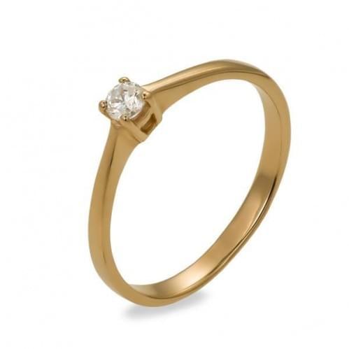 Золотое кольцо с фианитом КВ683и