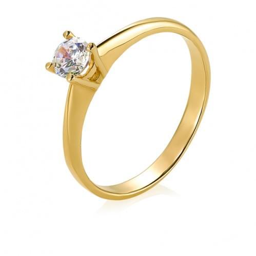 Кольцо из лимонного золота со вставкой КВ689Лн