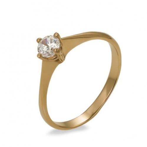 Золотое кольцо с фианитом КВ690и