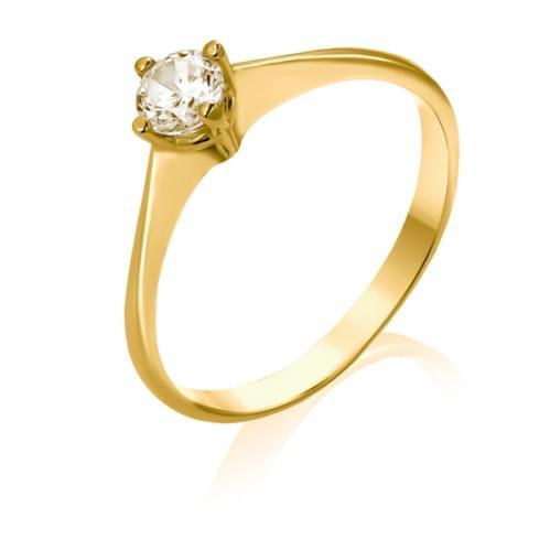 Кольцо из лимонного золота с бриллиантом КВ690.00100Лн
