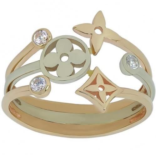 Золотое кольцо с фианитом КВ693и