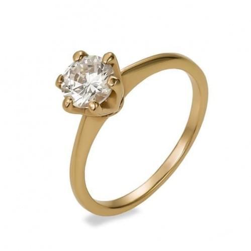 Золотое кольцо с фианитом КВ742и