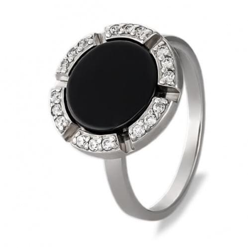 Серебряное кольцо с ониксом КВ771с